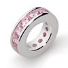 Taufring mit Kette 14 Zirkonia-Steine rosa Silber