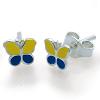 Kinderschmuck Ohrstecker Schmetterling gelb/blau Silber