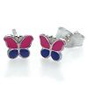 Kinderschmuck Ohrstecker Schmetterling pink/lila Silber