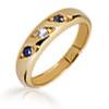 Taufring mit Kette 3 Zirkonia-Steine blau und weiß 333er Gold