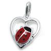 Kinderschmuck Halskette Käfer im Herz  mit Kette Silber