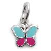 Kinderschmuck Halskette Schmetterling pink/türkis mit Kette Silber