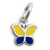 Kinderschmuck Halskette Schmetterling gelb/blau mit Kette Silber