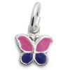 Kinderschmuck Halskette Schmetterling pink/lila mit Kette Silber