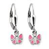 Kinderschmuck Ohrringe rosa Schmetterling Silber