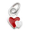 KinderschmuckHalskette rot/weisses Herz mit Kette Silber