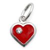 Kinderschmuckrotes Herz mit Kristall mit Kette Silber