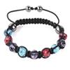 Shamballa Armband Glasperlen Hämatit hellblau/rot/lila
