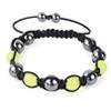 Shamballa Armband Glasperlen Hämatit gelb/graphit