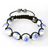 Shamballa Armband Hämatit Glaskugel weiß Muster blau