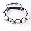 Shamballa Armband Glasperlen Hämatit weiß Blumenmuster rosa