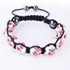 Shamballa Armband Glasperlen Hämatit weiß Blumenmuster rot