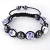 Shamballa Armband Glasperlen Hämatit graphit/weiß Muster lila