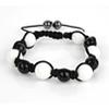 Shamballa Armband Glasperlen weiß/schwarz