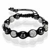 Shamballa Armband Glasperlen Kristallkugel schwarz/kristall