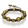 Shamballa Armband Glasperlen olivgrün klar