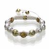 Shamballa Armband Glasperlen goldfarben/weiß