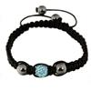 Shamballa Armband Hämatit, Glasperle grau/hellblau